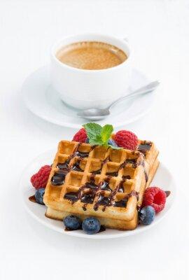 Плакат традиционные сладкие вафли и кофе эспрессо
