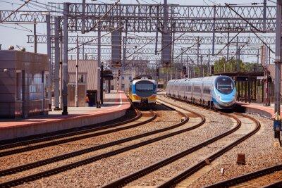Плакат Поезд на платформе железнодорожного вокзала в Гдыне, Польша.