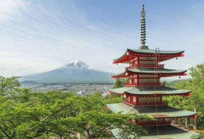 Плакат Пункт назначения - гора Фудзи с красной пагоды весной, Fujiyos