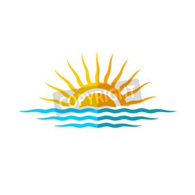 Плакат Путешествия шаблон логотипа. Солнце с морскими волнами.