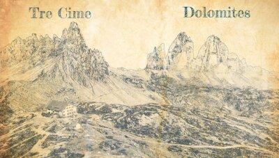 Плакат Tre Cime di Lavaredo in Dolomites, Italy, sketch on paper