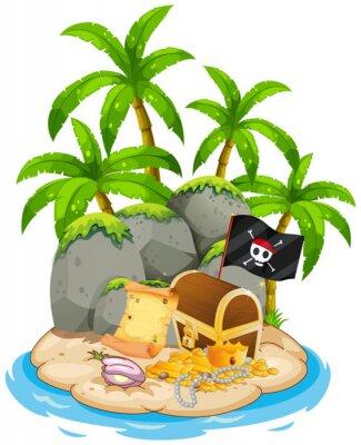 Плакат Treasure on island beach scene