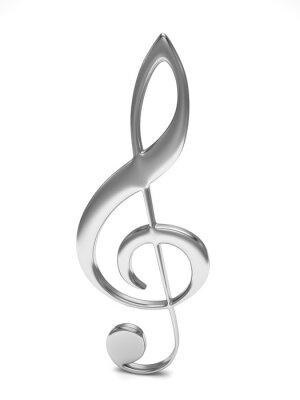 Плакат скрипичный ключ 3d на белом