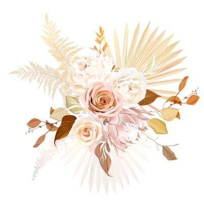 Плакат Trendy dried palm leaves, blush pink rose, pale protea, white ranunculus, pampas grass vector