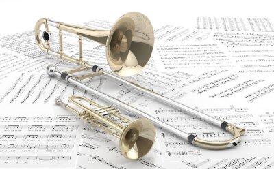 Плакат Trombón у Trompeta Sobre partituras 2