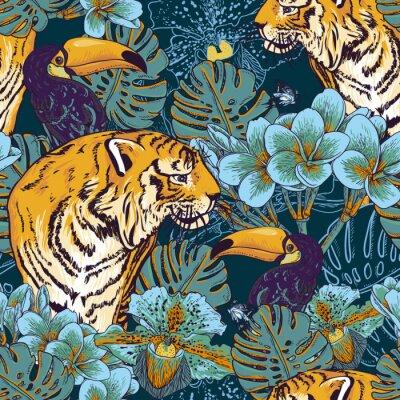 Плакат Тропический цветочный бесшовный фон с тигром