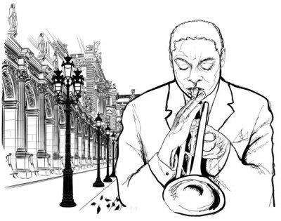 Плакат Трубач в Париже