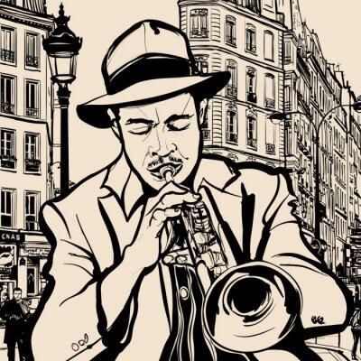 Плакат трубач на городской фон