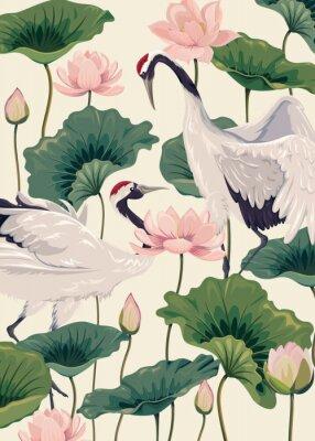Плакат two japanese cranes and pink lotus