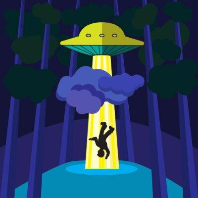 Плакат НЛО похищает человека