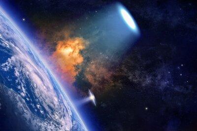 Плакат НЛО исследует планету Земля