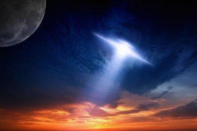 Плакат НЛО в небе