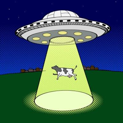 Плакат Ufo принимает вектор корова стиле поп-арт