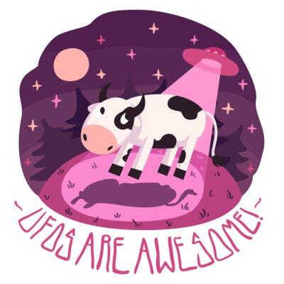 Плакат НЛО являются удивительными! векторный постер (фон и карта) с коровой на холме и НЛО в ночь с полной луной и звездами (мультяшном стиле)