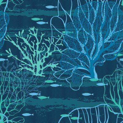 Плакат Подводный мир. Бесшовные вектор с морских растений и рыб