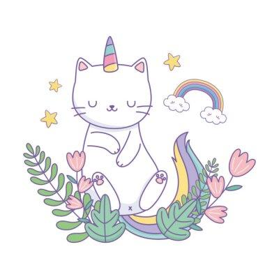 Плакат Unicorn cat cartoon vector design