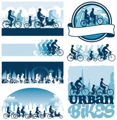 Плакат Городские велосипедисты редактируемые векторные силуэты этикетки