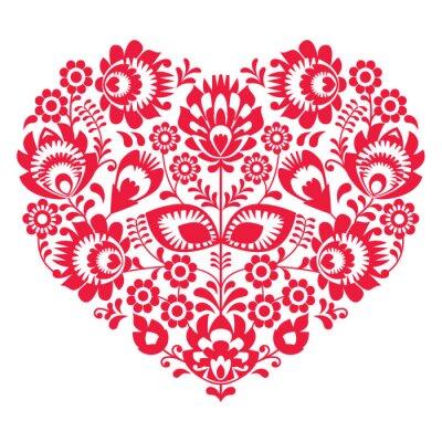 Плакат День Святого Валентина народное искусство красное сердце - польский образец