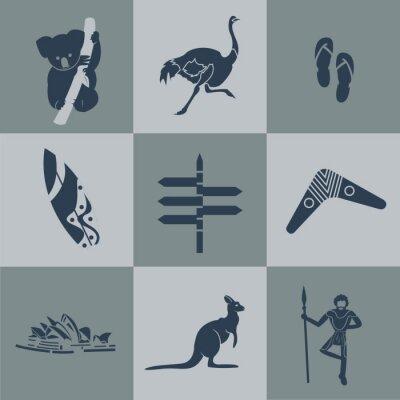 Плакат Плоским Вектор Австралии путешествия черный