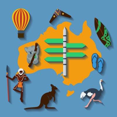 Плакат Vector australia travel flat color
