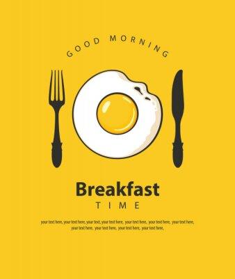 Плакат Векторный баннер на тему времени завтрака с жареным яйцом, вилкой и ножом на желтом фоне с местом для текста в стиле ретро