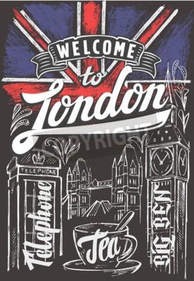 Плакат Вектор мелом большой флаг Великобритании и Лондона