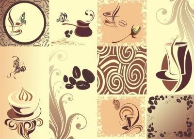Плакат Вектор кофе backgroundwith бабочка