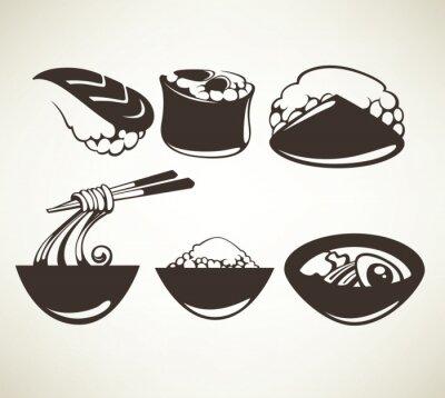 Плакат вектор Коллекция японских символов пищевых