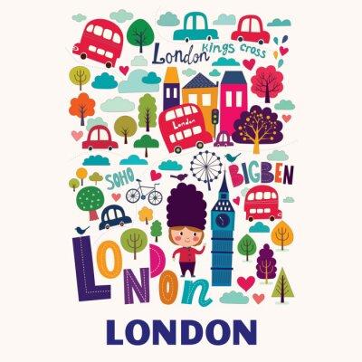 Плакат Вектор красочные картины с символами Лондона