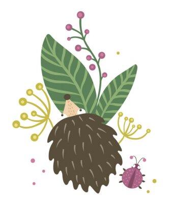 Плакат Vector hand drawn flat hedgehog with berries, leaves and ladybug clip art. Funny autumn scene with prickly animal having fun. Cute woodland animalistic illustration for children's design, print