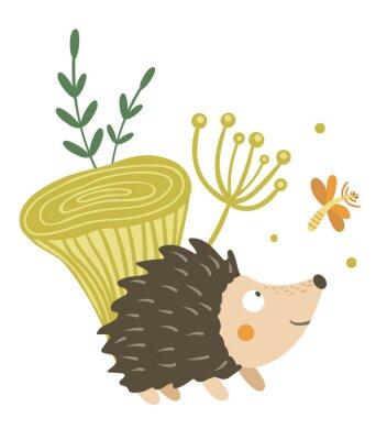 Плакат Vector hand drawn flat hedgehog with mushroom and dragonfly clip art. Funny autumn scene with prickly animal having fun. Cute woodland animalistic illustration for children's design, print,