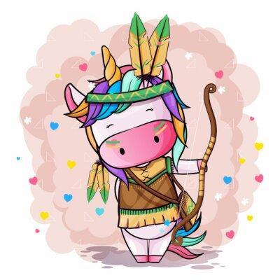 Плакат Vector hand drawn illustration of a cute unicorn