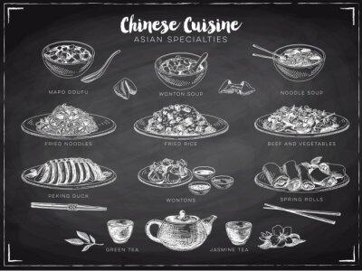 Плакат Вектор ручной обращается иллюстрации с китайской едой.