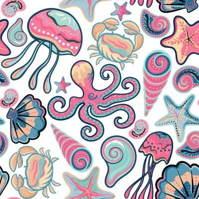 Плакат Вектор ручной обращается бесшовные модели с медузы, ракушки, морские звезды, осьминоги и крабы. фон океана