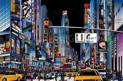 Плакат Векторная иллюстрация улице в Нью-Йорке в ночное время