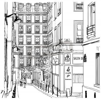 Плакат Векторная иллюстрация улице возле Монмартра в Париже