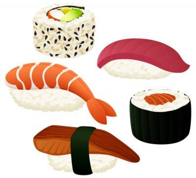 Плакат Векторные иллюстрации разнообразных суши.