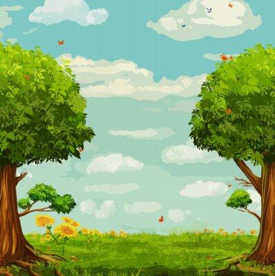 Плакат Векторная иллюстрация красивой лесной сцены с деревьями и небом