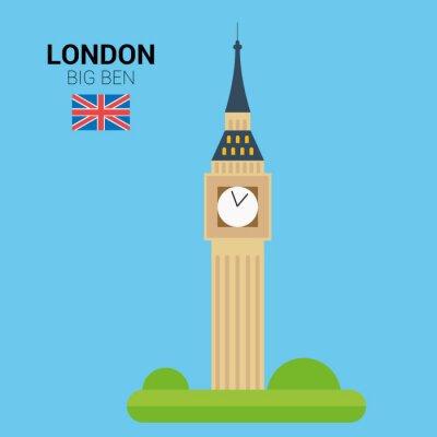 Плакат Векторная иллюстрация Биг Бен (Лондон, Великобритания). Памятники и достопримечательности Коллекция. EPS 10 файлов, совместимых и редактирования.