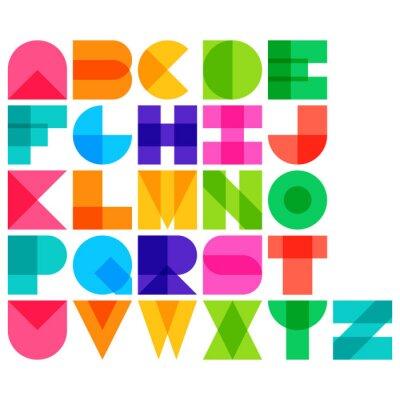 Плакат Vector illustration of color font
