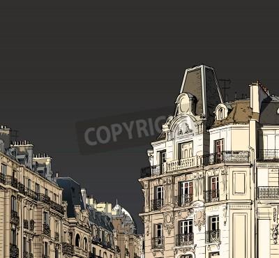 Плакат Векторная иллюстрация фасадов в Париже в штормовую погоду