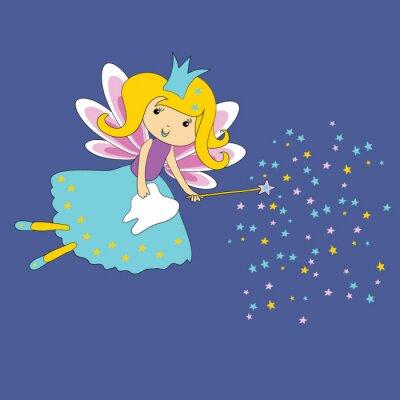 Плакат Векторные иллюстрации Зубная фея с волшебной палочкой и звезды на синем фоне. Первый сертификат зуба.