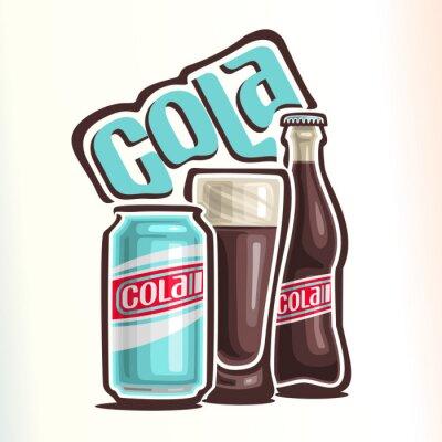 Плакат Векторная иллюстрация на тему логотипа для колы, состоящей из банки с колой, стеклянный стаканчик с колой и закрытой стеклянной бутылкой колы