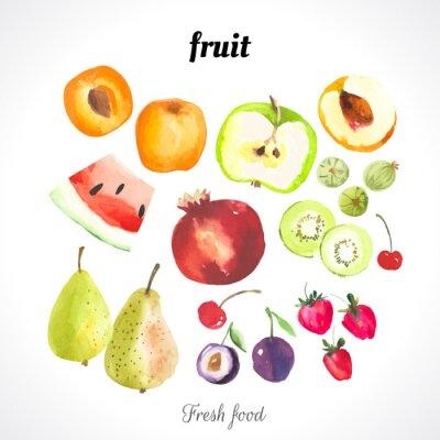 Плакат Векторные иллюстрации акварелью пищи.