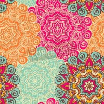 Плакат Вектор Mandala. Круглый орнамент в этническом стиле. Рука ничья