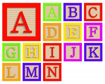 Плакат Vector modern wooden alphabet blocks set