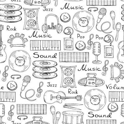 Плакат Векторная модель с рисованной символов музыки на белом цвете
