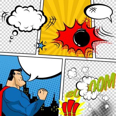 Плакат Vector Retro Comic Book Speech Bubbles Illustration.