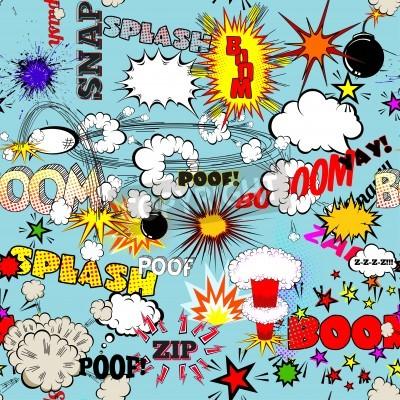 Плакат Вектор ретро бесшовные модели с Comic речи пузыри, наклейки, логотипы и книга комиксов Слова