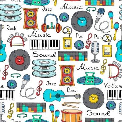 Плакат Вектор бесшовные модели с рисованной символ музыки